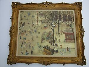 LARGE MASTERFUL FOLK NAIVE PAINTING LANDSCAPE PEOPLE BUSY TOWN SIGNED WHIMSICAL