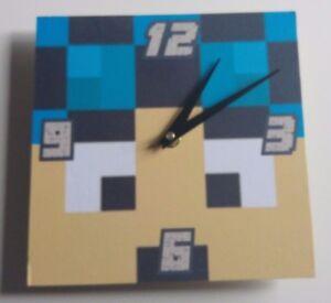 wooden Minecraft style Dan tdm Handmade Wall Clock Gift Kids ...