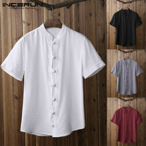 Men-039-s-Kung-Fu-Chinese-Style-Short-Sleeve-Shirt-Summer-Traditional-Casual-T-Shirt