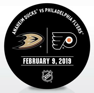 Philadelphia-Flyers-Issued-Unused-Warm-Up-Puck-2-9-19-Vs-Anaheim-Ducks