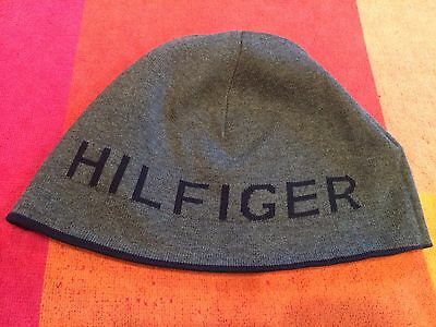 NWT TOMMY HILFIGER REVERSIBLE BEANIE NAVY BLUE SKULLIE GREY CAP SKULLY HAT df019a9d37d3