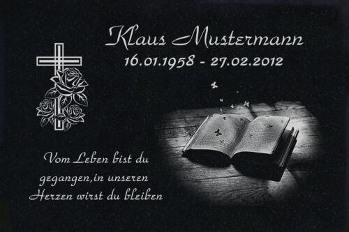 Grabstein Grabplatte Text Motiv Gravur und Doppelstütze aus Granit 40x30x1 cm