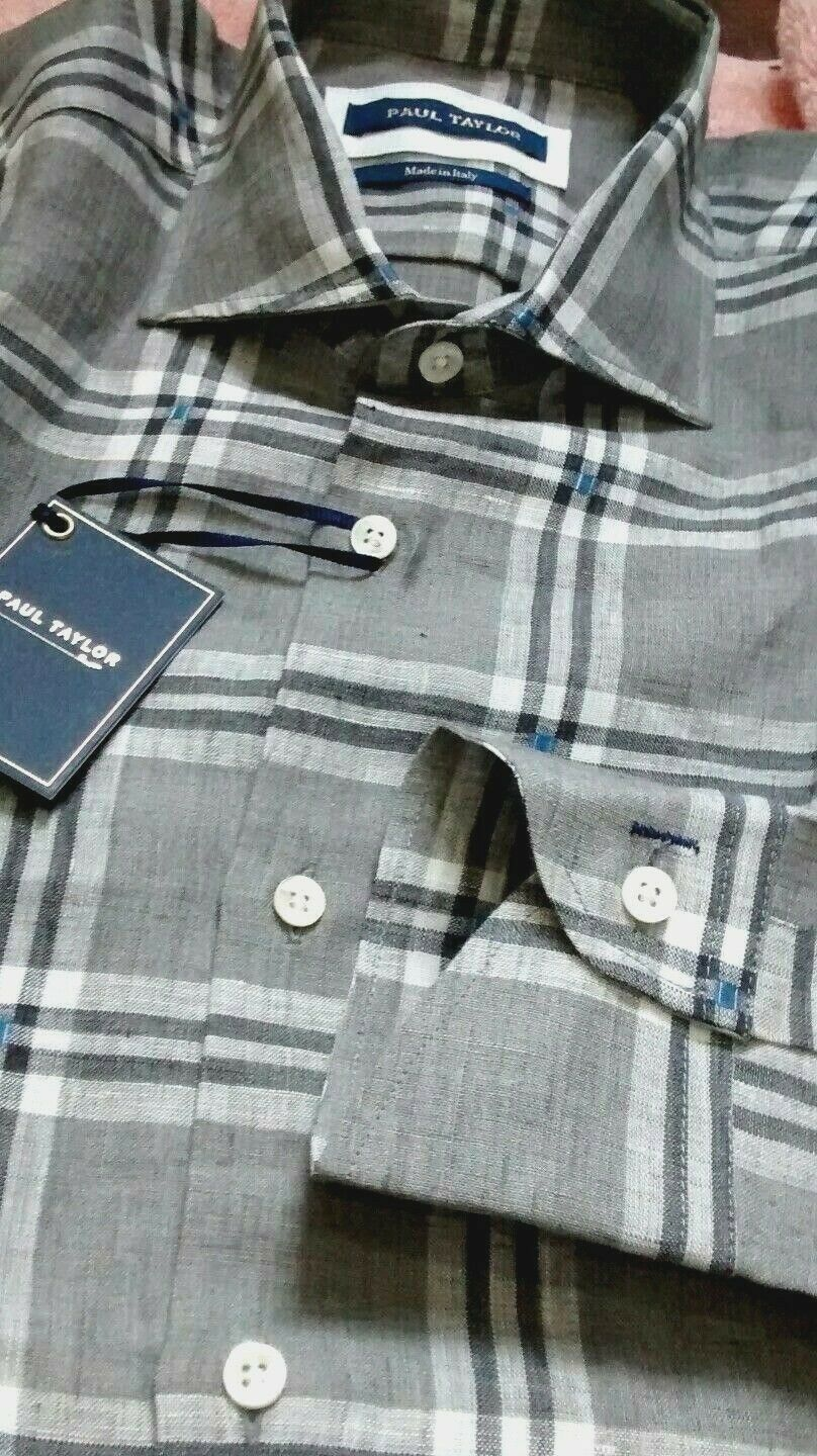 NWT Paul Taylor men's long sleeved button down shirt, plaid pattern with geometr