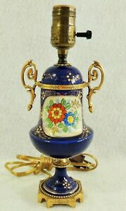 Small-Antique-Vtg-Cobalt-Blue-Porcelain-Gold-Gilt-Hd-Ptd-Flower-Brass-Table-Lamp