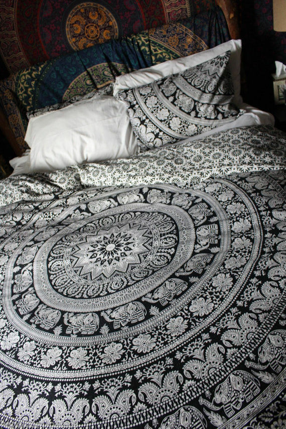 Indian Hippie Mandala Duvet Cover Bohemian Queen Size Bedding Set With Pillows