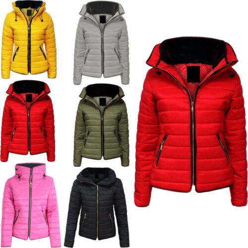 Girls Winter Quilted Puffer Padded Kids Childrens Fur Collar Hooded Jacket Coat