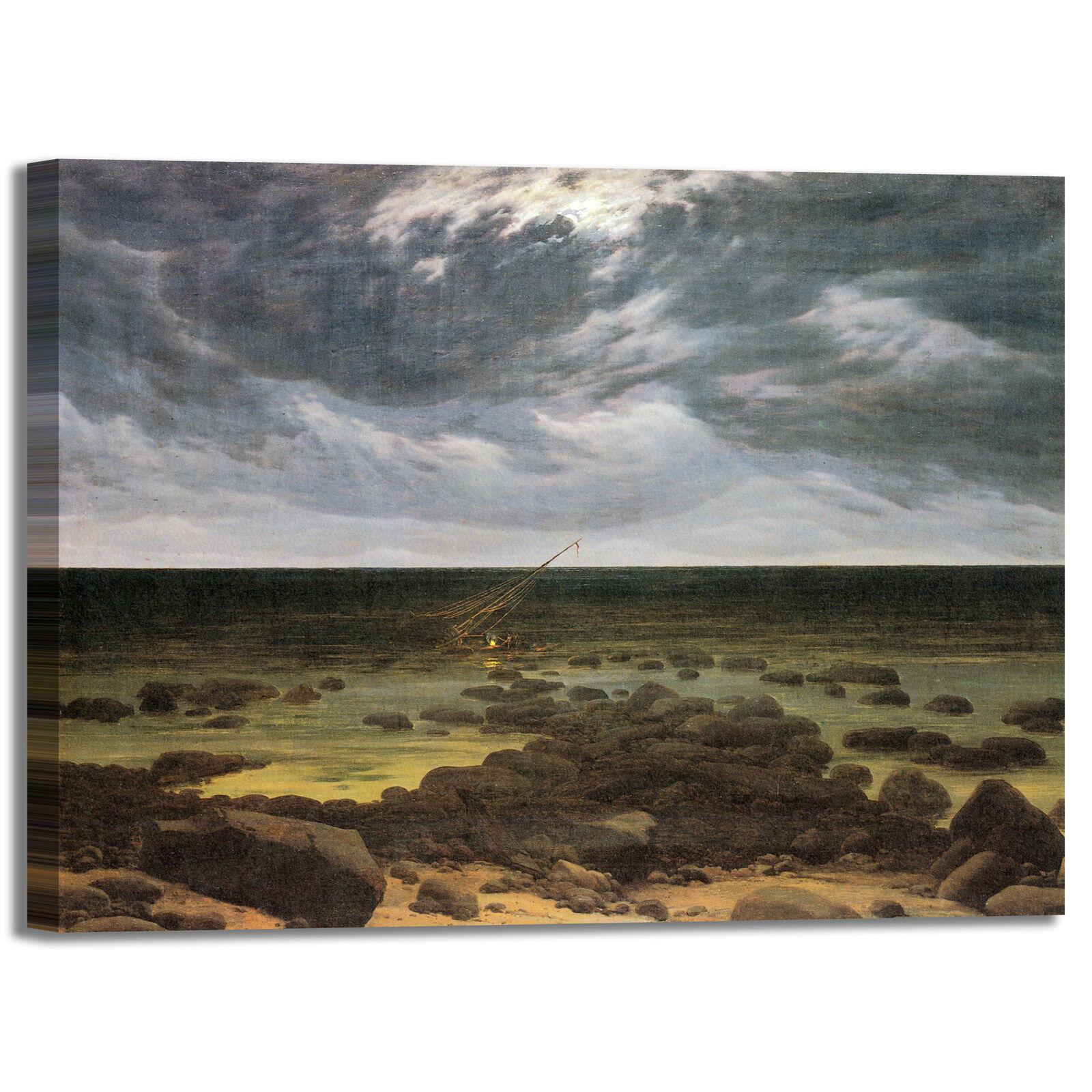 Caspar naufragio al chiaro di stampa luna quadro stampa di tela dipinto telaio arRouge o casa 5195c7
