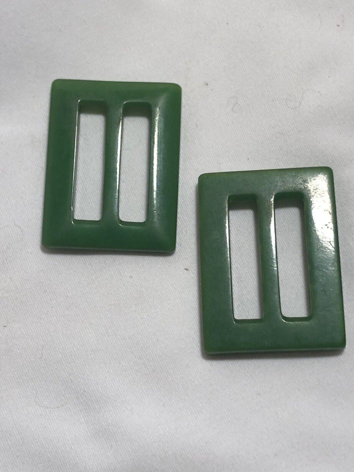 1950s GREEN BAKELITE BELT BUCKLES   - image 4