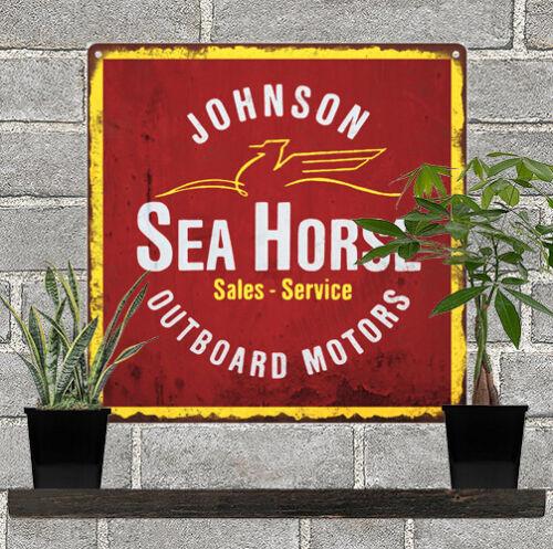 "Johnson Seahorse Outboard Motors Boat Mancave Metal Sign Repro 12x12/"" 60372"