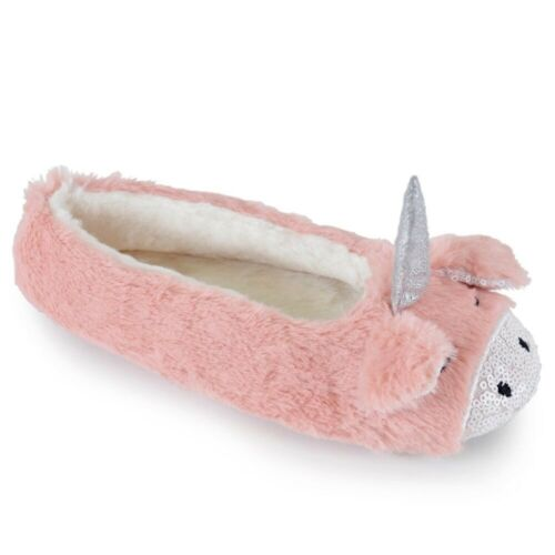 Ladies Cute Unicorn Sequin Sparkle Faux Fur Ballerina Slippers 3 UK Sizes
