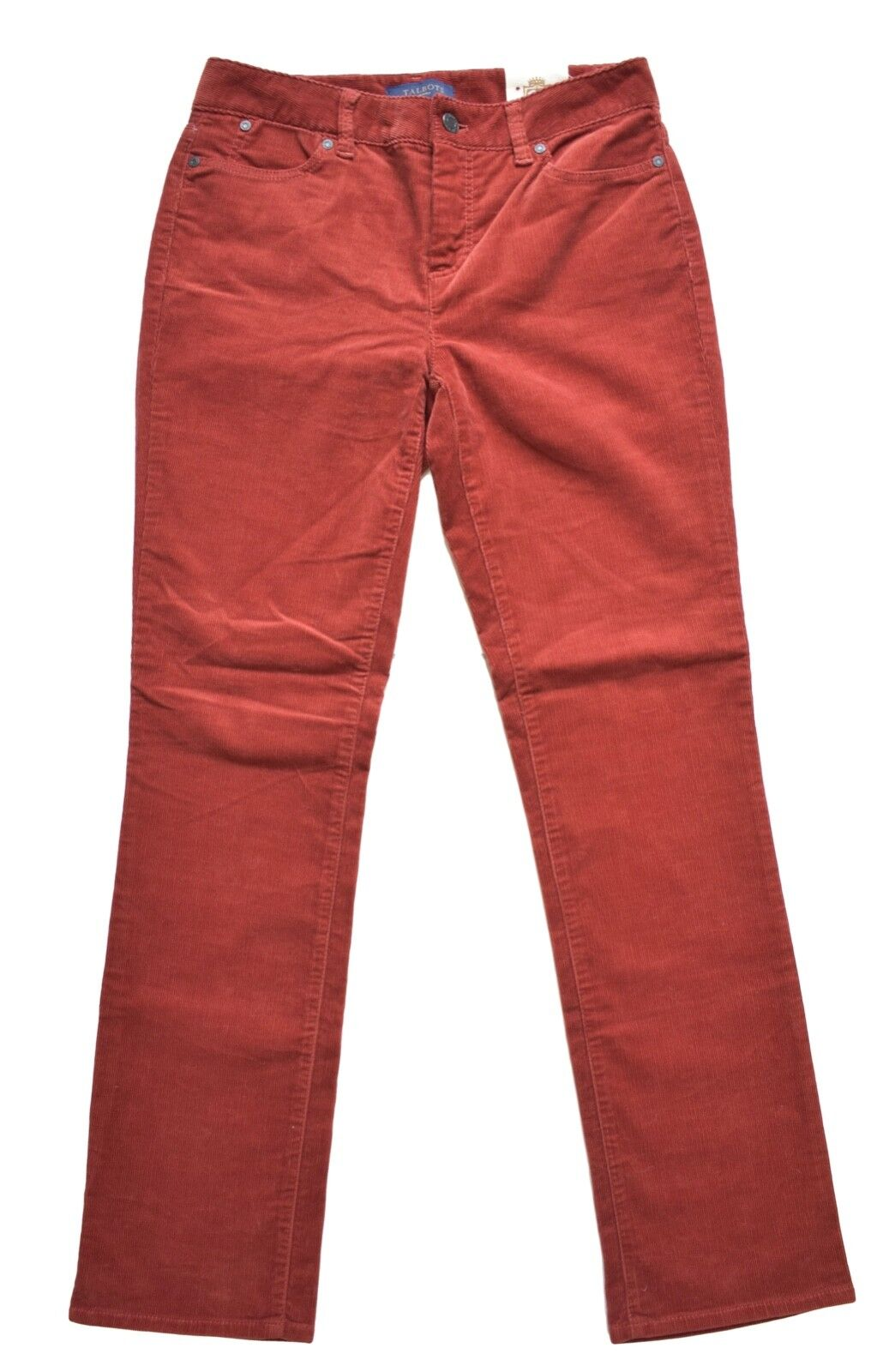 Talbots Womens Pants 4P Heritage Brown Red Rust Corduroy Straight Slimming NWT