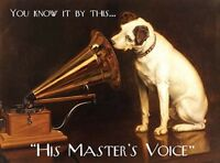 HIS MASTERS VOICE HMV GRAMOPHONE JACK RUSSELL METAL PLAQUE SHABBY CHIC RETRO 441