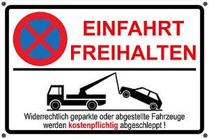 schild einfahrt freihalten parken verboten parkverbot hinweisschild vorgebohrt ebay. Black Bedroom Furniture Sets. Home Design Ideas