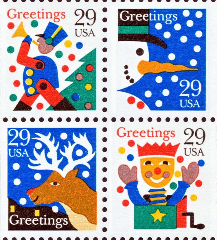 1993 29c Christmas Designs, Booklet Block of 4 Scott 27