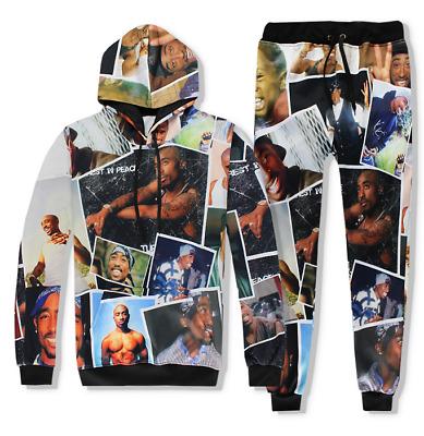 Men //Women hip hop Tupac 3D Print Autumn Sweatshirt Top Jogger Pants Set S-5XLE2