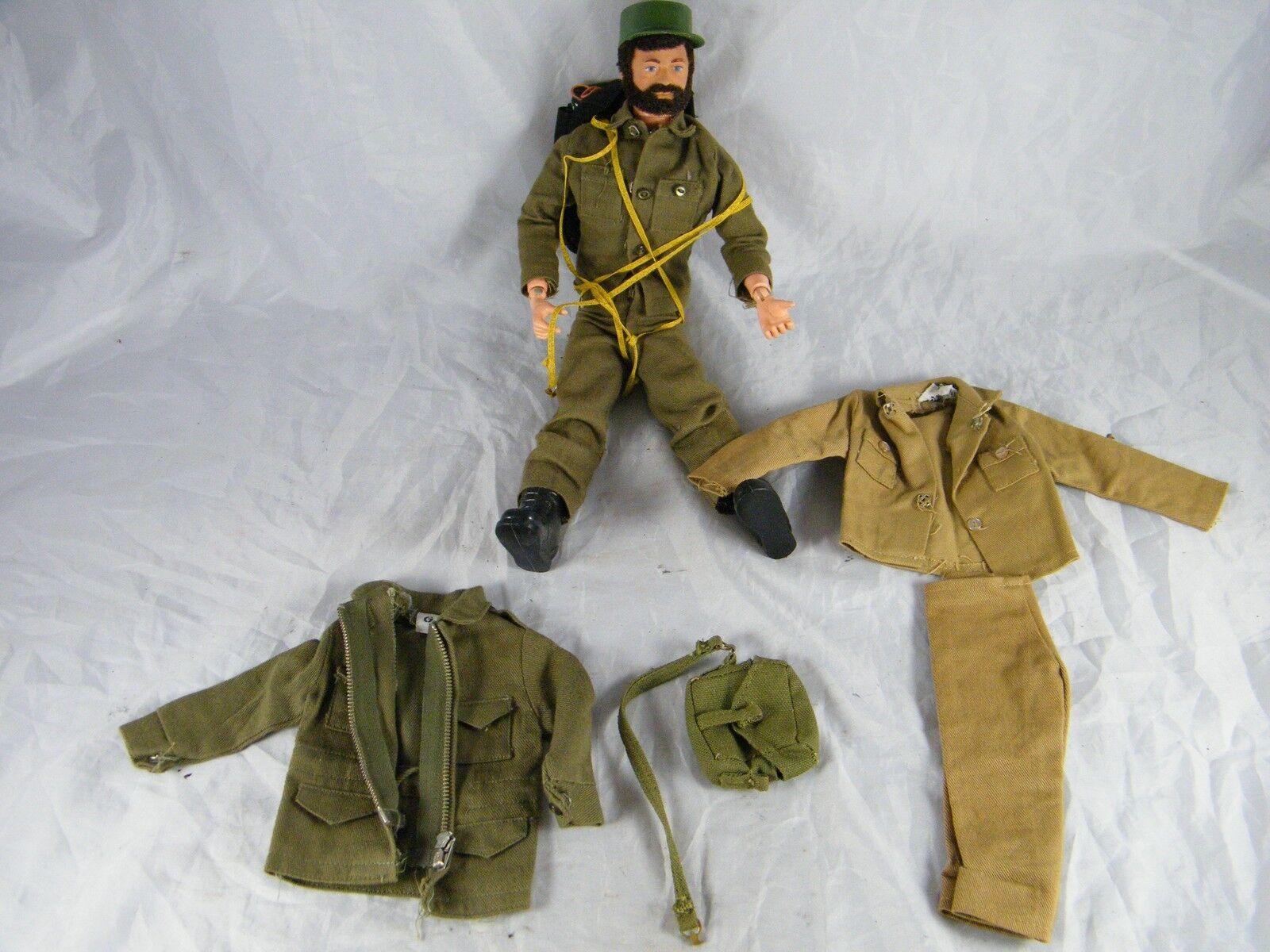 1964 flocado Cabello   Barba, con cicatriz G.i. Joe con paracaídas, chaqueta, vestimenta y Ba