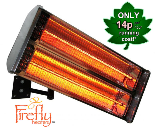 Halogen Patio Heater Double Lamp Wall Mounted Electric 2kw Infrared Outdoor