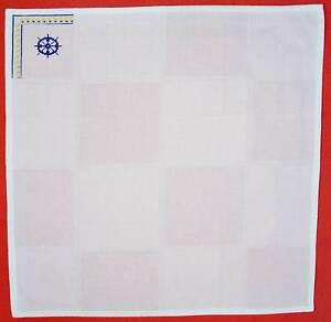 VINTAGE-AUTHENTIC-NAUTICAL-ART-EMBROIDERY-WHITE-BLUE-COTTON-KITCHEN-TOWEL