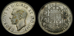 1947-Canada-Silver-Fifty-50-Cent-Piece-King-George-VI-VF-30