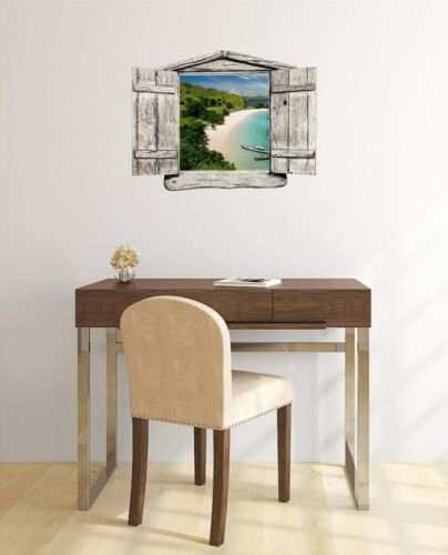Window Landscape View INDONESIAN ISLAND BEACH #1 WOOD Wall Sticker Decal Graphic