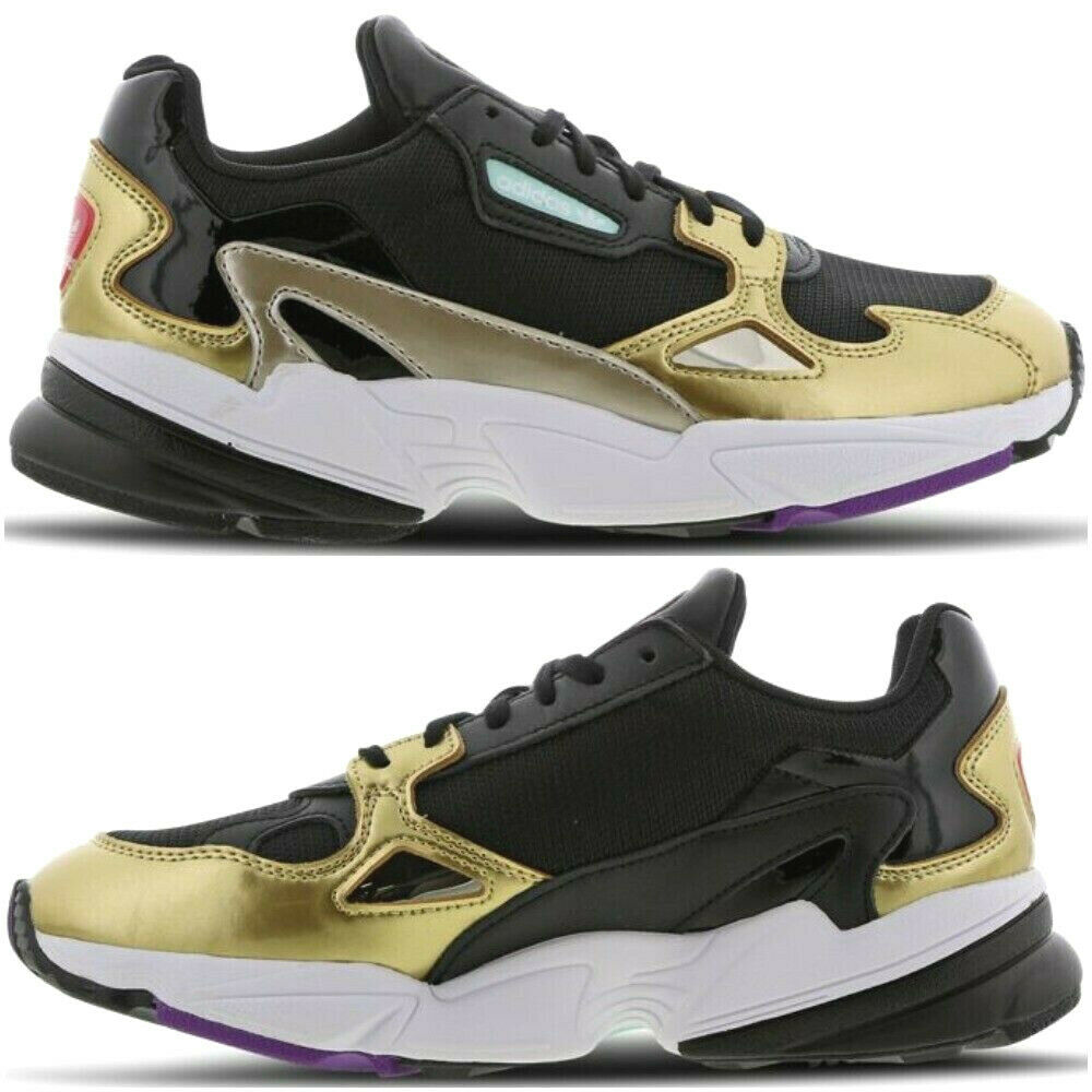 NEW Adidas Falcon Bae x Kylie Jenner Womens Trainers gold Black White Sneakers