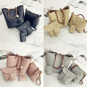 4pcs-Women-PU-Leather-Handbag-Shoulder-Bag-Tote-Purse-Messenger-Satchel-Clutch