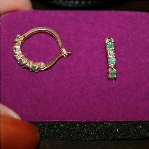 Natural-Emerald-Diamond-Hoop-18mm-Earrings-Gift-Box-14k-Yellow-Gold-over-925-SS
