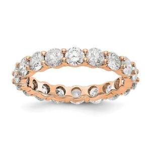 14k Oro Rosa Rotondo Diamante Eternity Fedina Condiviso Graffa 3.00ct Ct Taglia