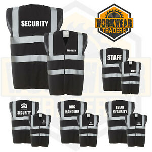 Security-Black-High-Hi-Vis-Event-Staff-SIA-Door-Man-Dog-Handler-Safety-Vest
