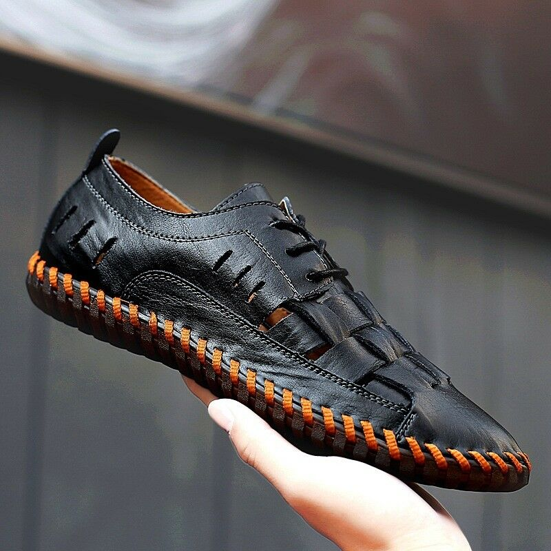 Summer men plus 38-47 Moccasins Leather Loafers Driving casual breathable shoes