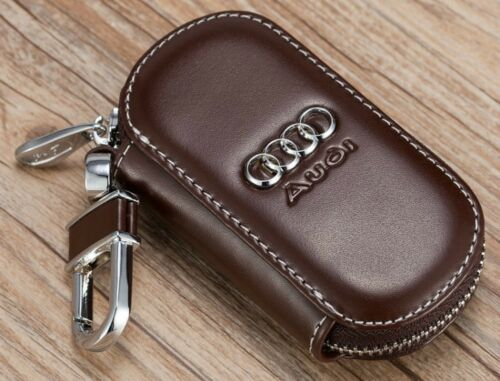 Elegant cowhide leather car keybag keyring key chain personalised for Audi Brown