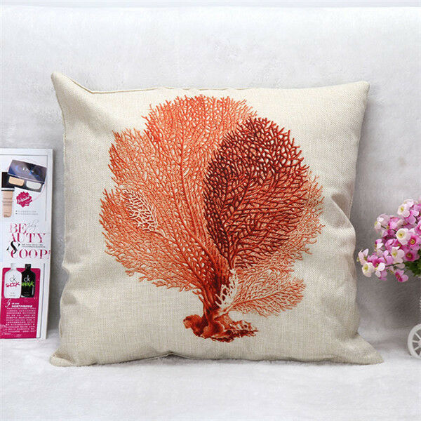 Marine Animal Linen Square Cushion Cover Throw Pillow Case Sofa Home Car Decor