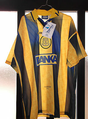 maglia shirt everton nr no calcio umbro size XL new nuova yellow