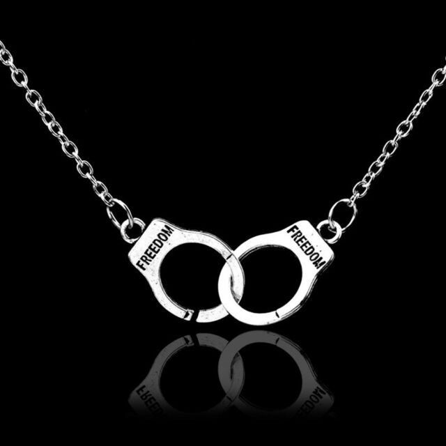 Freedom Valentine's Day Collar Steampunk Handcuffs Necklace Jewelry Pendant