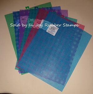 7-Mesh-Plastic-Canvas-10-5x13-5-034-6-8-Sheets-Color-Lot-Dark-Pastel-White-Neon