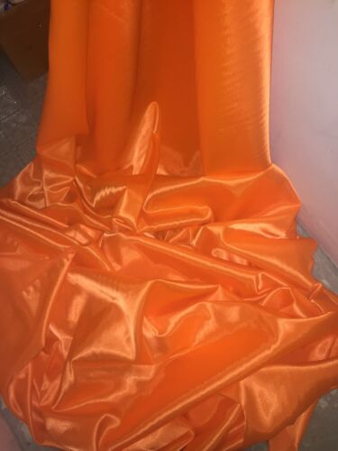 """NEW IN STOCK 3 MTR ORANGE CREPE BACK LINING SATIN FABRIC...58/"""" WIDE"""