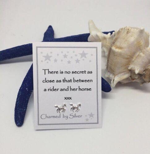 Caballo De Plata Esterlina Aretes mensaje con un regalo perfecto