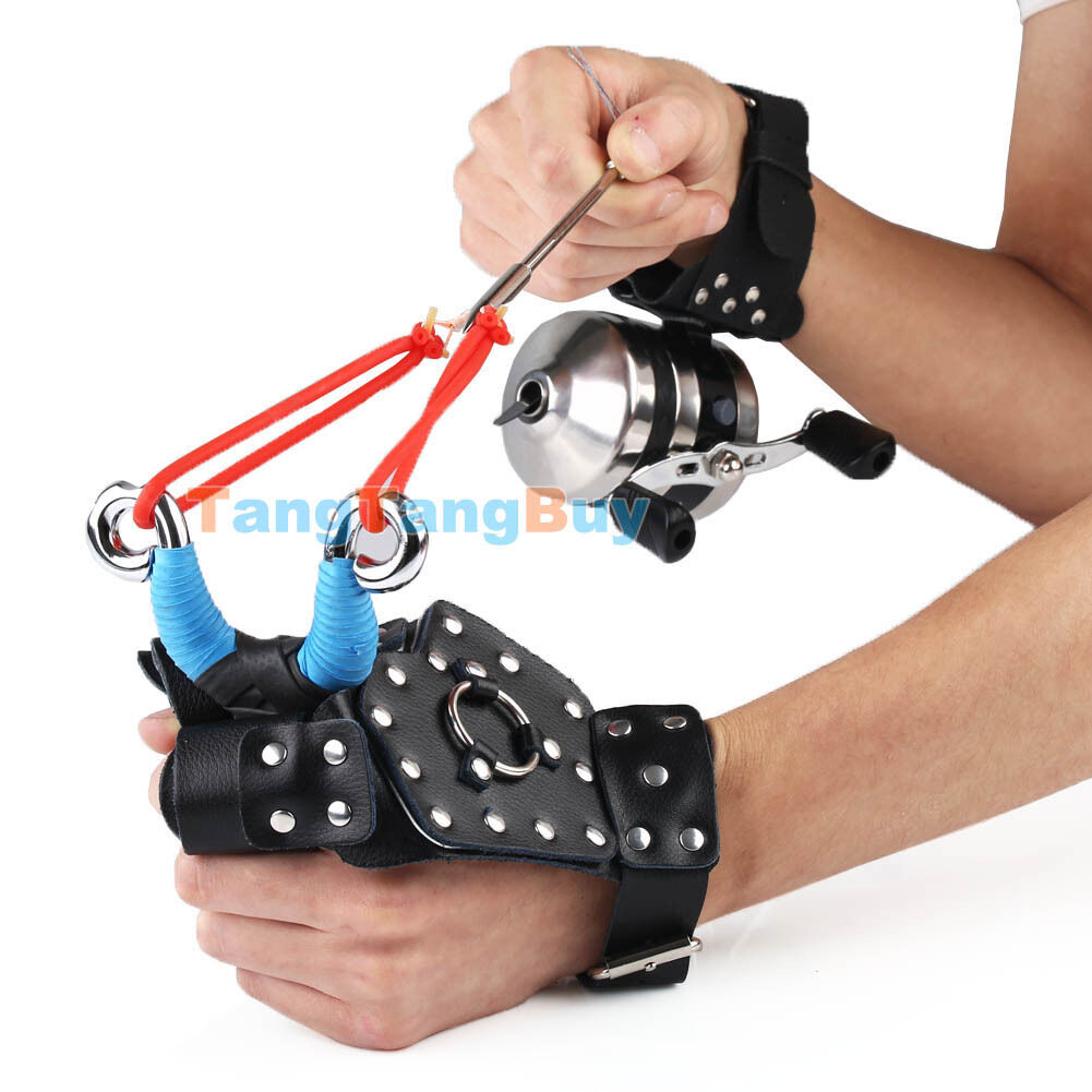 Hunting Fishing Slingshot Catapult Set - Spincast Reel, Hand Guards, Arrow Heads