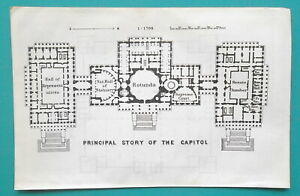 WASHINGTON-DC-Floor-Plan-Capitol-amp-Museum-1909-MAP-4-x-6-034-10-x-15-5-cm