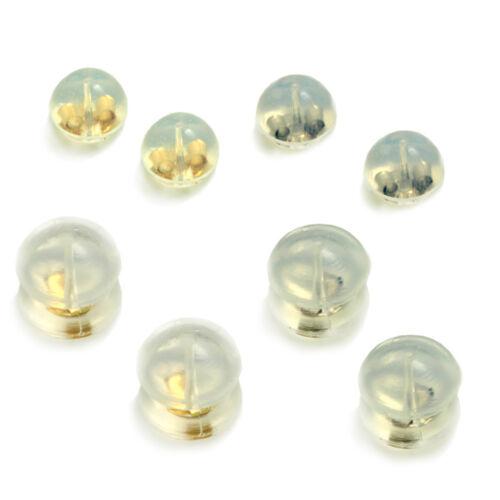 14k solide jaune ou or Blanc Gelée Silicone Arrière Boucle d/'oreille Support Grandes Ou Petites