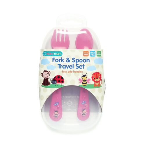NEW BABY YEARS FORK /& SPOON TRAVEL SET Assorted Colors