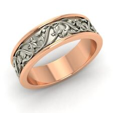 Men's wedding Band / Ring  In 6 mm Two Tone Solid 14k Rose Gold- Free Engrave