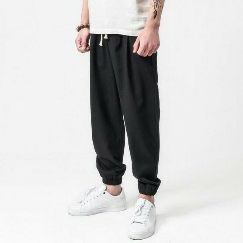 Mens Long Harem Pants Outdoor Straight Loose Spring Leisure Long Skinny Trousers