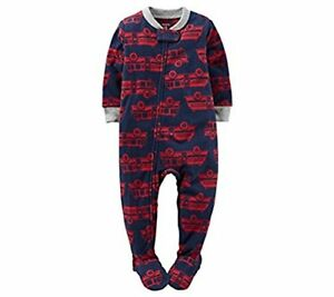 539361e632bb Carter s Boy s Size 5T Navy and Red Firetruck Fleece Footed Pajama ...