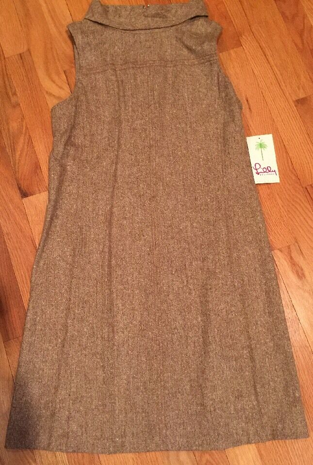 NWT NWT NWT Lilly Pulitzer Womens Portia Dress Chocolate Brown Pepper Tweed Suiting 8 842925