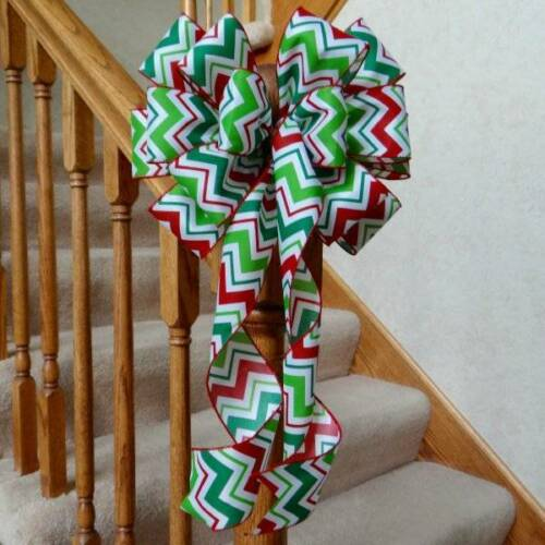 """10/"""" WIDE RED GREEN /& WHITE CHEVRON CHRISTMAS BOW~DECORATION WREATHS CRAFTS GIFTS"""