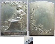 Medaille en bronze argenté signé BAUDICHON Art Nouveau Modern Style