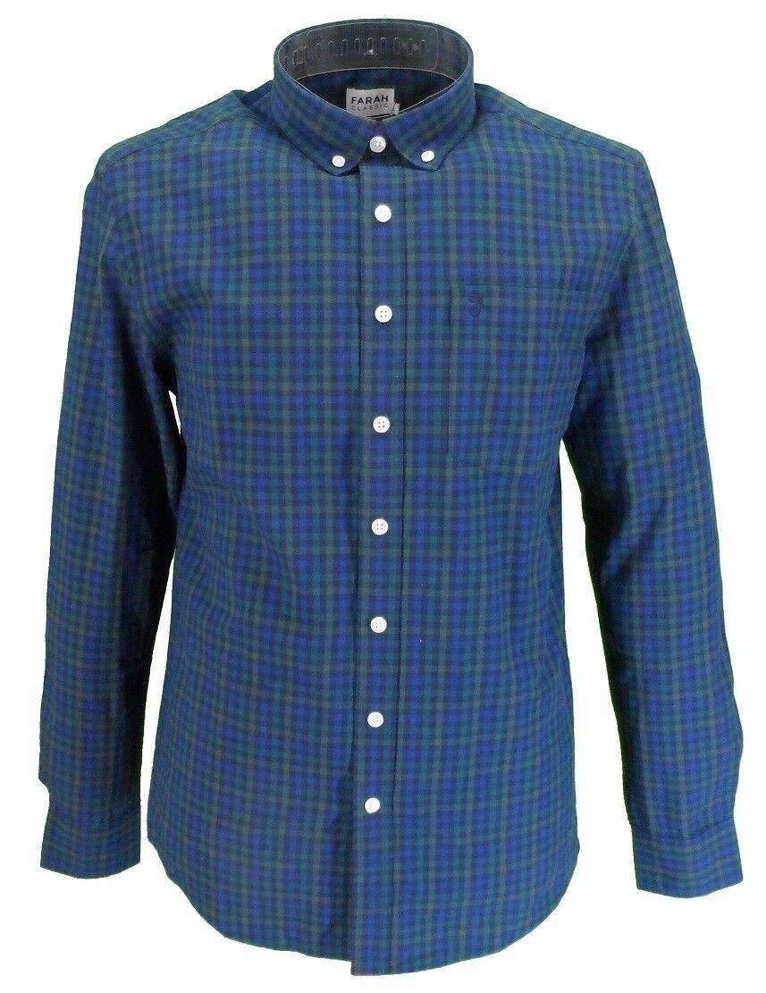 Farah Long Sleeved Navy Gingham Button-Down Shirts