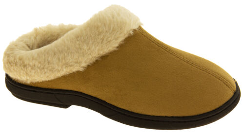 Womens COOLERS Faux Fur Lined Faux Suede Warm Mule Slippers Sz Sizes 3-4 7-8