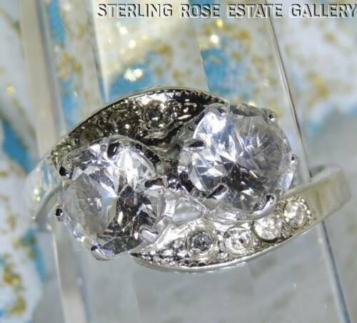 VINTAGE Double 6mm White TOPAZ STERLING SILVER .925 ESTATE Cocktail RING size 7